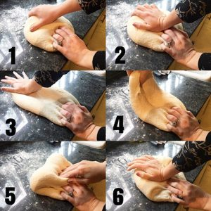 Steps of kneading bread